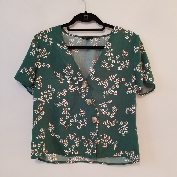 Dynamite green floral buttoned blouse